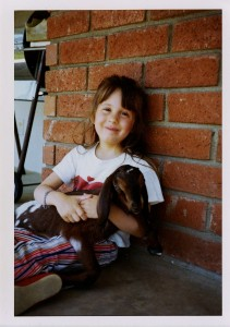 """Owner Laurel Miller displaying how she earned the nickname """"Goat Girl."""" It made elementary school fun."""